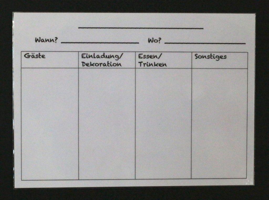 Planungskarten Gäste